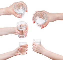 set of hand holds mineral water in glass isolated