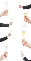 set of raising of champagne glass in hand