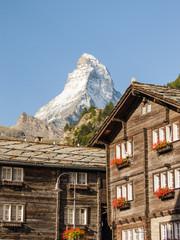 Zermatt, Dorf, Holzhäuser, Bergbauer, Alpen, Sommer, Schweiz