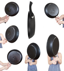 set of woman with frying pan close up