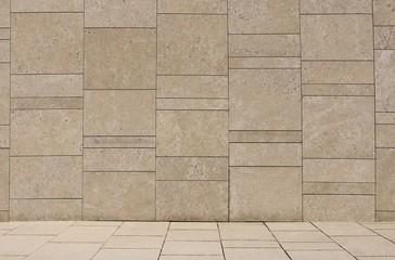 Wand und Boden aus Natur Stein; Hintergrund  leer