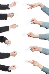 set of visiting cards in businesman hands