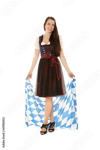 canvas print picture Mädchen im Drindl mit Bayern Fahne