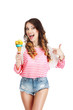 Gladness. Delightful Woman with Ice Cream Laughing