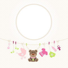 Hanging Baby Symbols Girl Teddy Frame Retro Dots
