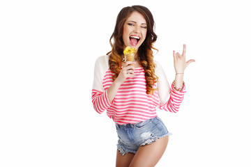 Sweetness. Cute Girl with Delicious Ice Cream Smiling