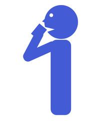 水を飲む人のイラスト 青