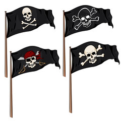 Vector Set of Cartoon Pirate Flags