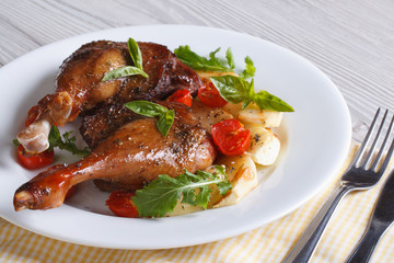 duck legs roasted with apples, tomatoes and herbs horizontal