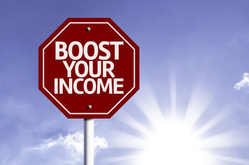 Boost Your Income red sign with sun background