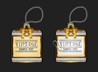 Vintage glossy golden locket badge design, create by vector
