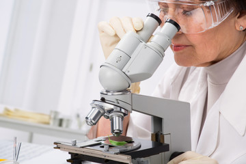 Biologist looking through a microscope