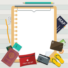 Flat Icon of Travel on Summer Vacation and Clipboard