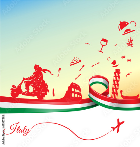 Fototapeta Italian holidays background with flag