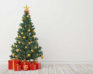 Christmas tree with presents in the vintage room