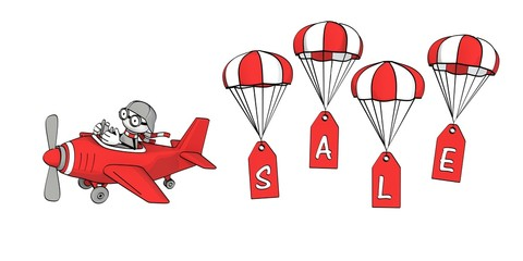 little sketchy man flying in a red plane and sale on parachute