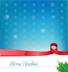 christmas background with red ribbon flag