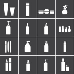 Cosmetic flasks icons