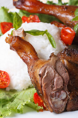 roasted duck leg with rice and basil on lettuce vertical