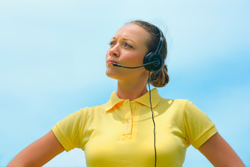 Beautiful call centre operator or client services