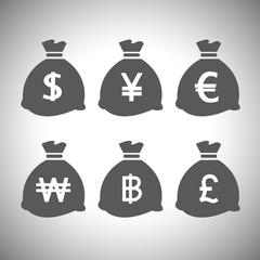 vector money bags set
