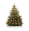 Christbaum mit Roten und Goldenen Kugeln