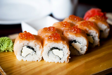 Japanese sushi traditional Japanese food. Roll with salmon
