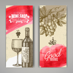 hand drawn of wine banners