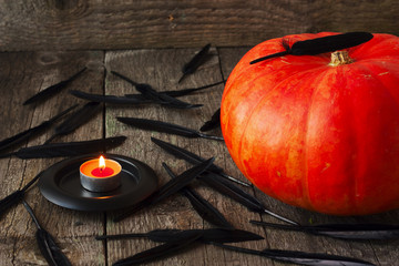 big pumpkin,  black feathers and  candle