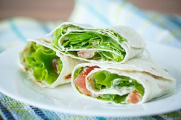 pita with salad and salted salmon