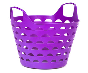 Purple color plastic basket for supermarket shopping or laundry