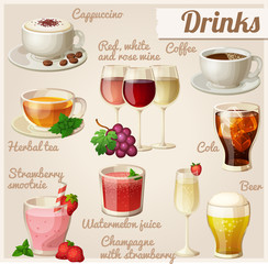 Set of food icons. Drinks.