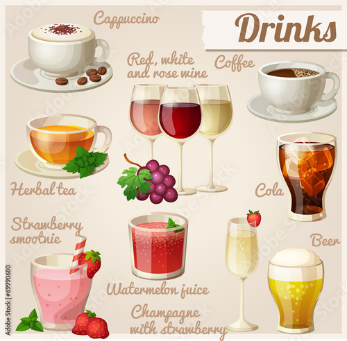 Set of food icons. Drinks. - 69990680