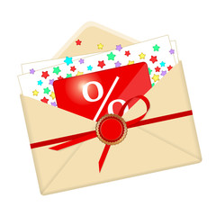 Envelope, discount card and stars