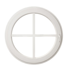white circle window frame isolated on white background