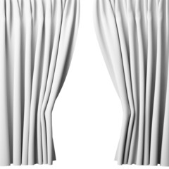 blank white curtain on white background