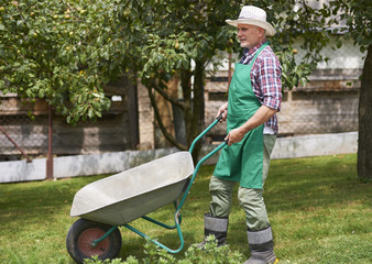 Hard working mature man in garden