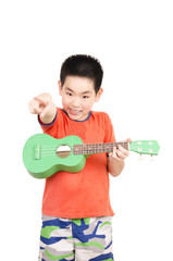 Smart boy playing musical instruments