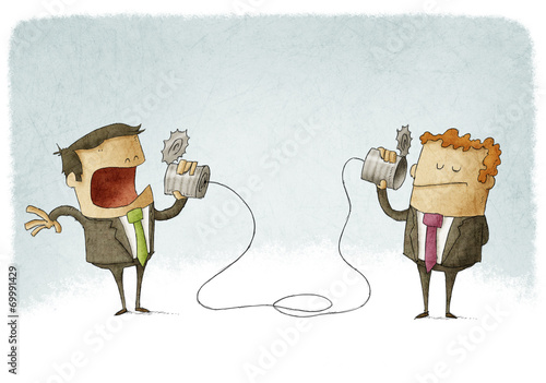 Leinwandbild Motiv businessmen talking on a homemade can phone