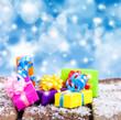 canvas print picture - bunte Weihnachtsgeschenke