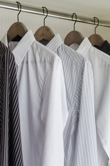 row of shirts hanging
