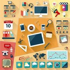 Office Infographic Flat Icon Set