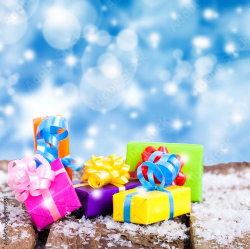 canvas print picture bunte Weihnachtsgeschenke