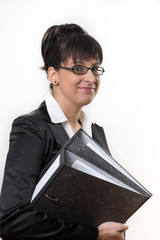 business lady with two folders