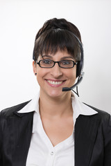 business lady with a headset