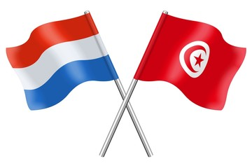 Flags : Luxembourg and Tunisia