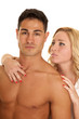 couple man no shirt woman behind hand on  chest