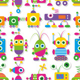 Fototapety cute big-eyed robots collection pattern