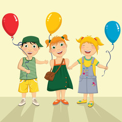 Vector Illustration Of A Group Of Children Keeping Balloons