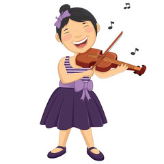 Vector Illustration Of A Little Girl Playing Violin